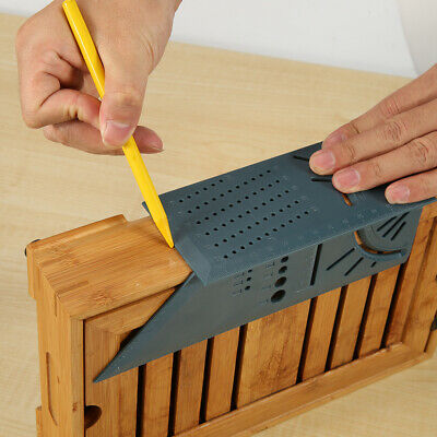 Plastic 3D Mitre Square Angle Measuring Woodworking Tool with Gauge and Rulers