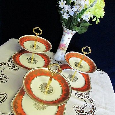 Trio of 2 Tier Gladstone China Art Deco Small Biscuit / Cake / Nibble Stands