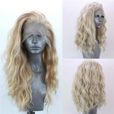 24'' Lace Front Wig Long Blonde Natural Curly Wavy Full Hair Women Wig Synthetic