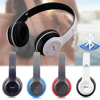 P47 New Foldable Wireless Bluetooth Stereo Headset Handsfree Headphones +Mic UK