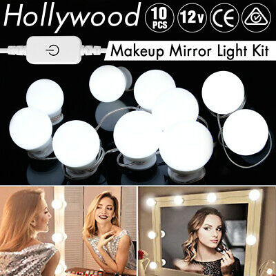 10PCS Hollywood Makeup Mirror Vanity LED Light Kit Dimmable Blub Beauty Lighting