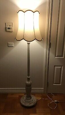 Antique Standard/Floor Lamp With Quality Lampshade.