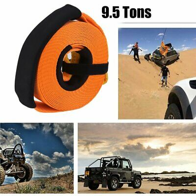 75mm x 10M Snatch Strap Winch Extension 9.5TON 4WD Recovery Kit Tow Strap BK