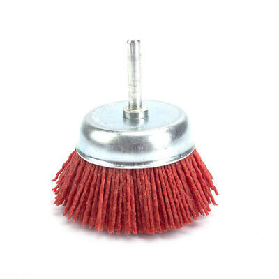 "3"" Deburring Abrasive Wire Brush Head Polishing Nylon Wheel Cup Shank 6mm 80#"