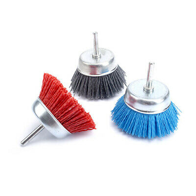 "3Pcs 3""Abrasive Wire DuPont Nylon Cup Brush Wheel For Deburring 80~240#Shank 6mm"