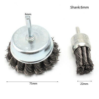 "2Pcs 1""&3""Wire Knot End Brush Stainless Steel With 1/4""Shank Buffing Rotary Tool"
