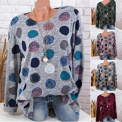Plus Size Women Boho Long Sleeve Blouse Baggy Tops Ladies Casual T Shirt Tee