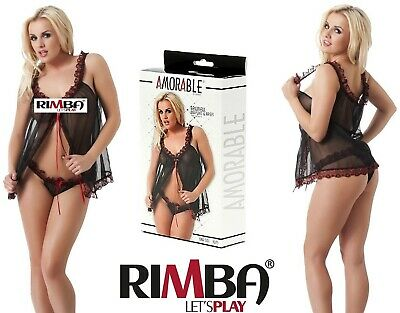 7936748bb724f Amorable by Rimba Lingerie Sexy Black & Red Babydoll with Briefs (1075)[UK