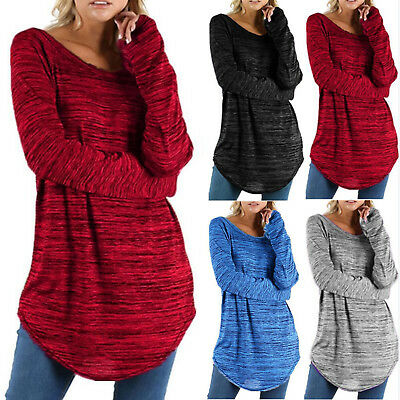 Women Casual Long Sleeve Shirt Top Tee Loose Plus Size Tunic Blouse Pullover