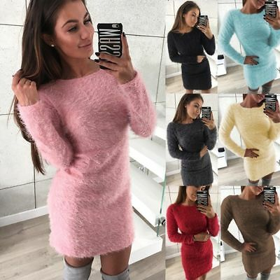 Women Long Sleeve Fluffy Sweater Bodycon Ladies Party Mini Jumper Dress Winter