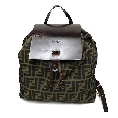 eb97bc291a AUTHENTIC FENDI VINTAGE Zucca FF Logo Backpack Bag Brown - $310.00 ...