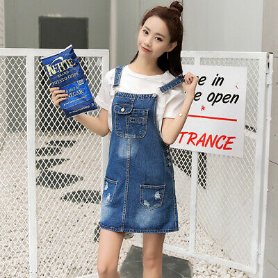 0317a45824d Womens Denim Pinafore/Dungaree Dress Ladies Braces Stretch Jeans Overall  Dresses