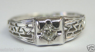 Antique Art Deco Diamond Engagement 18K White Gold Ring Size 5.75 UK-L EGL USA