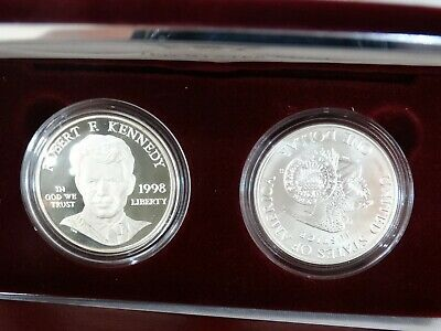 1998 Robert F. Kennedy Memorial Two Coin Silver Commemorative Set Proof & Unc