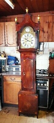 A Georgian Oak, Mahogany & marquetry Inlaid Longcase Grandfather Clock C1780