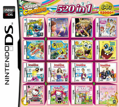 520 in 1 Multi Games Cartridge For Nintendo DS NDS NDSL NDSi 2DS 3DS