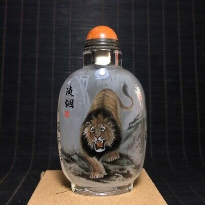 """4"""" Chinese old antique liuli glass hand painting lion Snuff Bottle statue"""