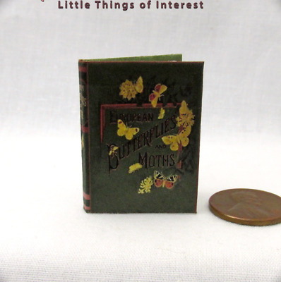 BUTTERFLIES AND MOTHS Readable Illustrated Miniature Book 1:6 Scale book