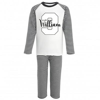 Personalised Name and Three Monochrome Birthday Pyjamas Boys Girls Gifts Pjs 3