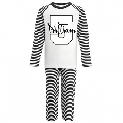 Personalised Name and Five Monochrome Birthday Pyjamas Boys Girls Gifts Pjs 5