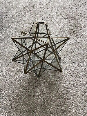 Antique Leaded Glass Brass Star Shape Lightshade