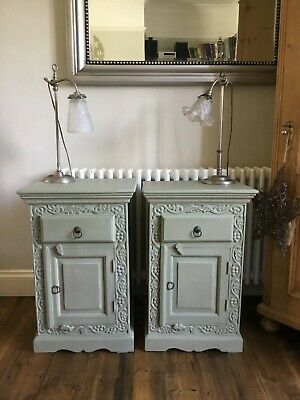 Beautiful Pair Carved Antique Pine Bedside Tables - Chateau Grey - Free Delivery