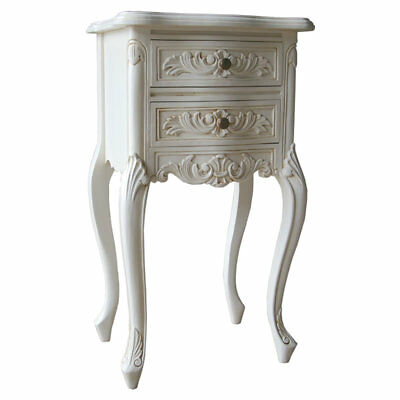 2 x Antique White Mahogany French Heavily Carved 2 Drawer Bedside Table H74cm