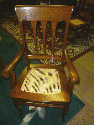 Antique Oak chair arm chair quarter sawn tiger oak hand cane seat refinished