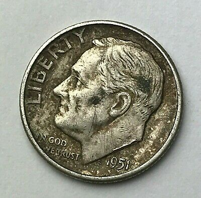Dated : 1951 - Silver Coin - America - Roosevelt Dime - One Dime - USA