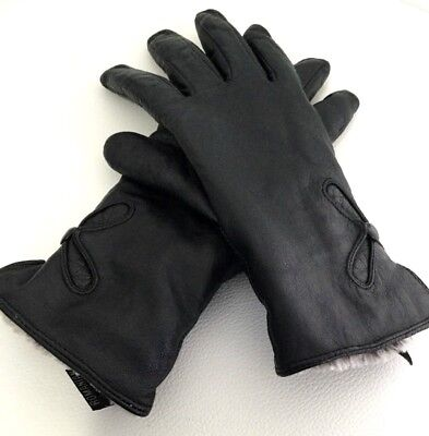 Womens Kueguau Black Leather Wrist Gray Faux Fur Lined Gloves Button Floral 7.5