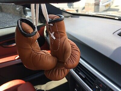 Small Hanging Vintage Style Leather Boxing Gloves Tan Brown For Car Lorry Van
