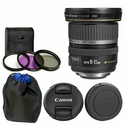 Canon EF-S 10-22mm f/3.5-4.5 USM Lens + 77mm 3 Piece UV Filters + Lens Pouch