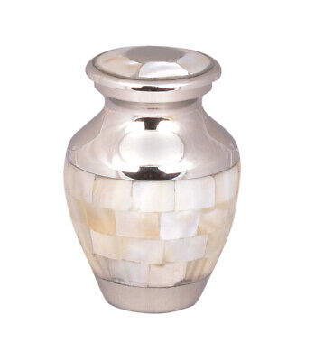 Mini Keepsake Cremation Ashes Urn Mother Of Pearl Silver Memorial Small Token