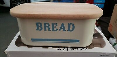 new enamel bread storage bin/container with a cutting board cover lid