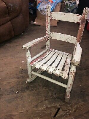 "Antique Wood Childs Chair Primitive 21"" Tall Fabulous Chippy White/red Paint"