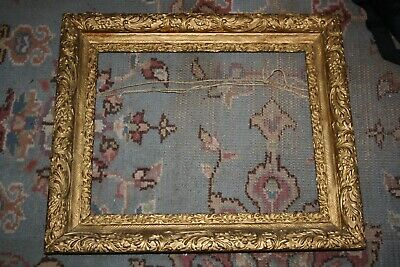 Large Ornate Antique Frame Gold Gilt Wood Carved Vtg Victorian French Art Crafts