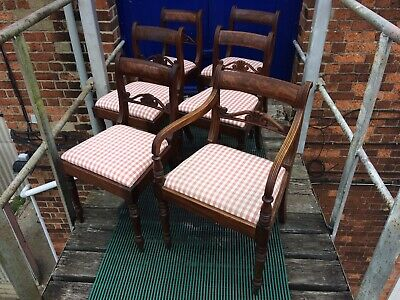 Antique Set Of 6 Regency Dining Chairs( 5+1 Carver)