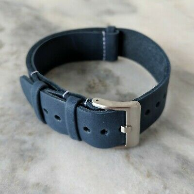 Leather NATO Watch Strap - Navy Blue (18mm/20mm/22mm)