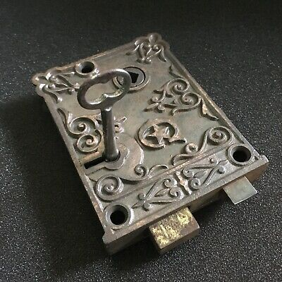 Antique Corbin Rim Lock very ornate With Penn Skeleton Key #2
