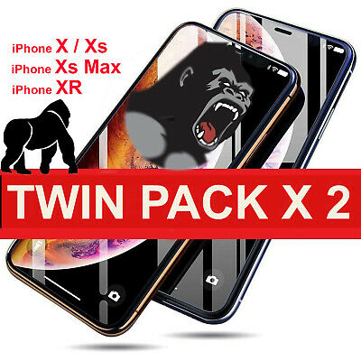 Twin Pack tempered glass screen protector for iphone X,XS,XR,XS MAX 100% Gorilla