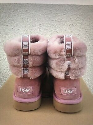 fa28bc87425 UGG FLUFF MINI Quilted Logo Pink Dawn Girls Women's Boot All Sizes ...
