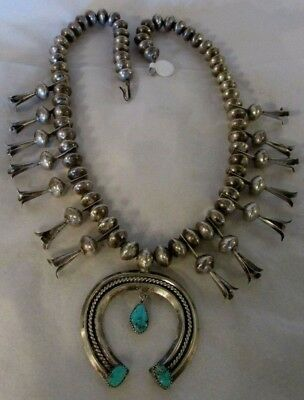 4bf38bbbc7205 OLD PAWN NAVAJO Pearls Squash Blossom Necklace Nat. Turquoise ...
