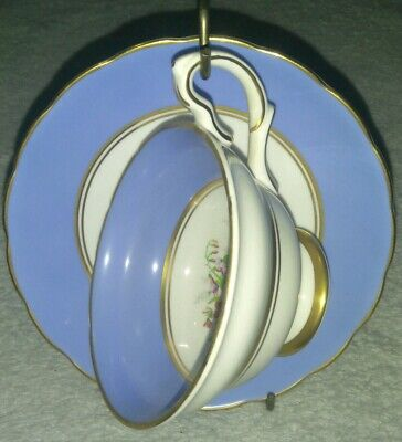Grosvenor B19 Bone China England Tea Cup and Saucer Blue Floral vintage