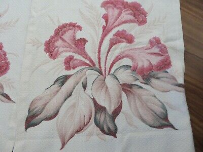 MUST SEE ROMANTIC  40's Textured BARKCLOTH BABY PINK on Creamy White Background