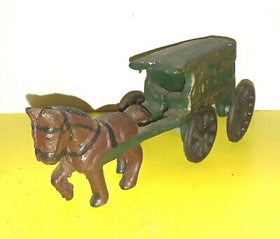 "Antique Cast Iron US Mail Buggy Horse Drawn Green Wagon 7"" Vintage"