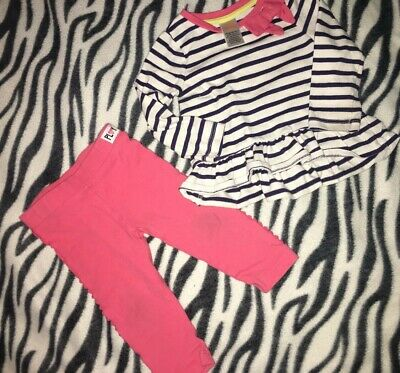 Baby Girls 6-12 Months Gymboree Two Piece Outfit Set Stripes & Pink Bow Blue Whi