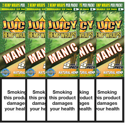 5 Flavoured Packs of Juicy Jays Manic Blunt Rolling Papers 10 Wraps Bundle