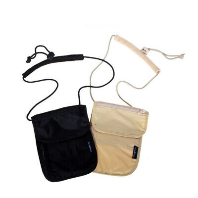 Trip Hanging RFID Blocking document Card Holder Neck small Pouch Security Bag