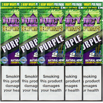 5 Flavoured Packs of Juicy Jays Purple Blunt Rolling Papers 10 Wraps Bundle