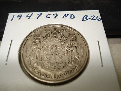 1947 - C7 - ND - Canada circulated 50 cent coin - silver Canadian half dollar